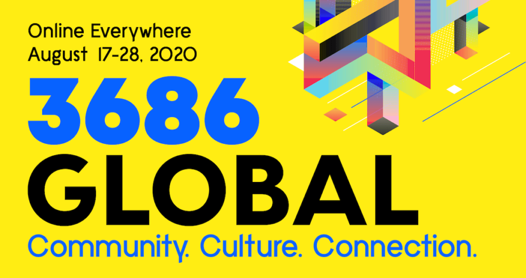 A graphic for the 36|86 Festival, an online event August 17-28, 2020.